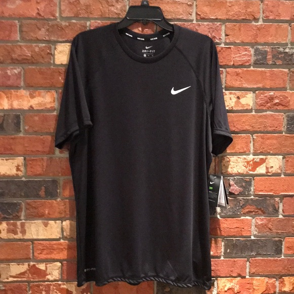 official photos 7bf6e dca60 Nike Mens Solid Hydroguard Black Swim Shirt